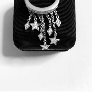 Kirks Folly Cascade Ring Stars CZ Silver Tone Sz 7